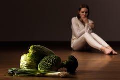 Lijd aan anorexia nervosa's stock fotografie