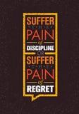 Lijd aan de Pijn van Discipline of aan de Pijn van Spijt Sport en Fitness Creatief Motivatie Vectorontwerp Gymnastiekbanner royalty-vrije illustratie