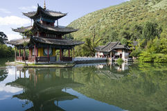 Lijiang black dragon pool. The sublime Black Dragon Pool water pagoda in LiJiang, china stock image