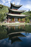 Lijiang black dragon pool. The sublime Black Dragon Pool water pagoda in LiJiang, china stock photography