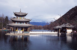 Lijiang,china: black dragon pool pagoda Royalty Free Stock Photography