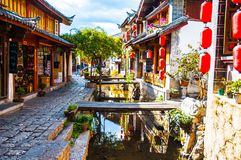 Lijiang Dayan old town scene Stock Photography