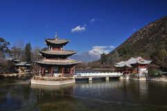 Lijiang dragon pond and temple Royalty Free Stock Photos