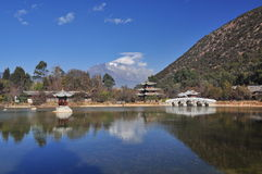 Lijiang dragon pond and temple Stock Photography