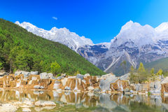 Lijiang: Jade Dragon Snow Mountain. A view of a river and Jade Dragon Snow Mountain in Lijiang (Southwest China royalty free stock image