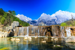 Lijiang: Jade Dragon Snow Mountain. A view of a river and Jade Dragon Snow Mountain in Lijiang (Southwest China royalty free stock photography