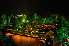 Lijiang Lighted Old Town Pagoda View Night H Stock Image