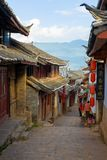 Lijiang Old Town Downhill Alley Traditional Houses Stock Images