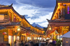 Lijiang old town in the evening . Stock Photo