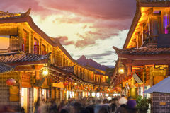 Lijiang old town in the evening. Stock Image