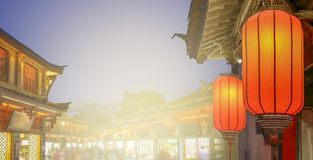 Lijiang old town in the evening with crowed tourist stock images