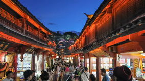 Lijiang old town in the evening with crowed tourist. stock video footage