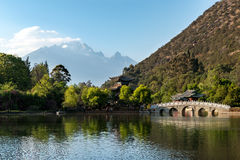 Lijiang old town scene at Black Dragon Pool Park Royalty Free Stock Photography