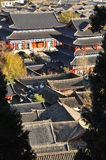 Lijiang old town roofs and Mu House. Yunnan, China Royalty Free Stock Images