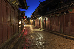 Lijiang Old Town in Yunnan, China at sunrise - by night.  royalty free stock photography