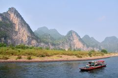 LiJiang River boat Royalty Free Stock Photos