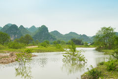 Lijiang River on both sides of the pastoral scenery Stock Photography