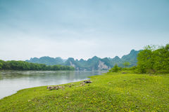 Lijiang River on both sides of the pastoral scenery Stock Photo