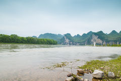 Lijiang River on both sides of the pastoral scenery Stock Images