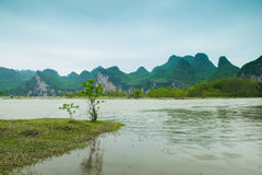 Lijiang River on both sides of the pastoral scenery Royalty Free Stock Images
