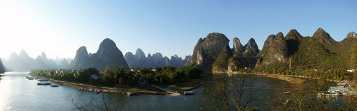 Lijiang river with hill panorama Royalty Free Stock Images