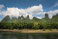 Lijiang river and karst mountains in Guilin, China stock photo