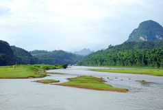 Lijiang River landskap i Guilin, Kina Arkivbilder