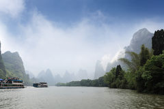 Lijiang river in misty and cloud Stock Photos