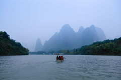 Lijiang river in misty and rain Stock Photography