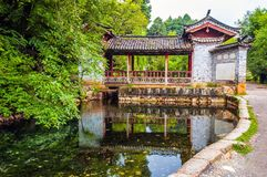 Lijiang Shuhe old town scene- Dragon spring(Longquan) and Trinity house Stock Image