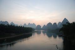 Lijiang Sunrise. Sunrise on the Li River, Yangshuo County, China Royalty Free Stock Images