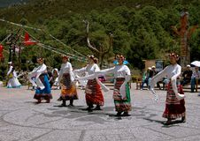Lijiang Twp, China: Naxi Women Dancing Royalty Free Stock Photography