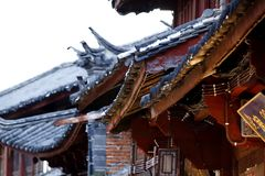 Chinese style roofs in the ancient city of Lijiang, Yunnan, China royalty free stock images