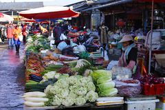 A market in a village near the ancient city of Lijiang, Yunnan, China royalty free stock photos