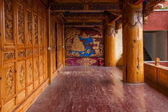 Lijiang, Yunnan Shuhe Shek Lin Monastery fresco. Shek Lin Temple Shuhe representation of attractions, is one of the eight views of the river beam royalty free stock photography