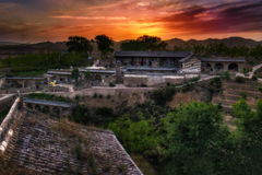 Lijiashan Hobitton in China. This is the last picture from sunset in Lijiashan. And probably my favorite one Royalty Free Stock Photography