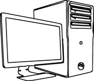 Lijn Art Illustration Of een Bureaucomputer /eps Royalty-vrije Stock Foto