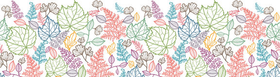 Lijn Art Leaves Horizontal Seamless Pattern Royalty-vrije Stock Fotografie