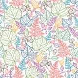 Lijn Art Leaves Seamless Pattern Background stock illustratie