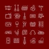 Lijn Art Vector Icon Set Stock Afbeeldingen