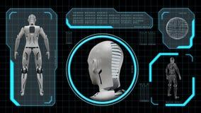 Lijn-bekwame animatie van een kunstmatige robotvrouw 4k stock illustratie