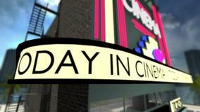 Lijn-bekwame geanimeerde tekst op een bioscoop royalty-vrije illustratie