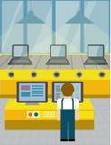 Lijn bij de assemblage van computers Vlakke stijl stock illustratie