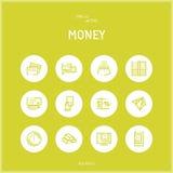 Lijn colorfuul pictogrammen geplaatst inzameling van Geld en Bankwezen Stock Fotografie