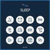 Lijn colorfuul pictogrammen geplaatst inzameling van slaaptekens voor ontwerp Stock Fotografie