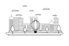 Lijn die stedelijke architectuur en luchtballon bouwen stock illustratie