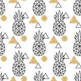 Lijn geometrische ananas en gouden flikkeringspunt royalty-vrije illustratie