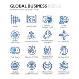 Lijn Globale Bedrijfspictogrammen stock illustratie