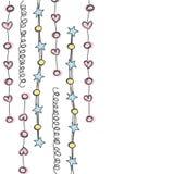 Lijn hangende achtergrond met hart, ster en cirkel hand getrokken w Stock Foto