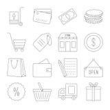 Lijn het winkelen geplaatste pictogrammen Royalty-vrije Stock Afbeeldingen